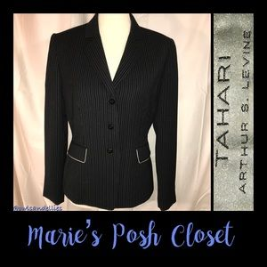 Black and Gray Pinstriped Jacket